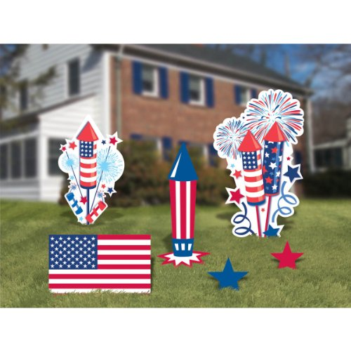 Amscan Patriotic 4th of July Assorted Corrugate Yard Sign Decorating Kit (6 Piece), Multi Color, 25.7 x 14""