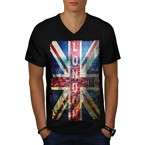 London England Art UK Flag Men NEW Black L V-Neck T-shirt | Wellcoda