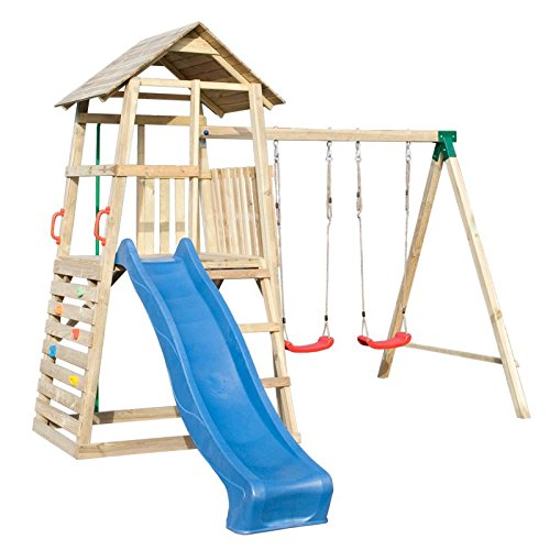 Spielturm mit Rutsche und Doppelschaukel, Kletterwand und Rutschstange jetzt bestellen