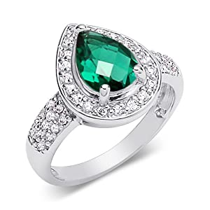 Green Color Ring Sterling Silver Rhodium Nickel Finish Pear Shape 2.00 Carats Size 8