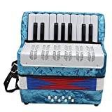 Andoer Mini Small 17-Key 8 Bass Accordion Educational Musical Instrument Toy for Kids Children Amateur Beginner Christmas Gift (Color: Blue)