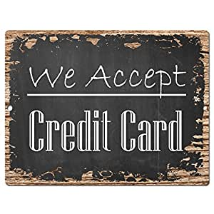 We Accept Credit Card Chic Sign Rustic Shabby