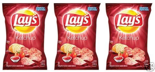 Lays Ketchup Potato Chips Eh! 3 Bags & Canada Flag!! (Lays Canada compare prices)