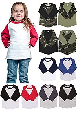 Kids T Shirts Raglan 3/4 Sleeves Baseball Baby up to Child