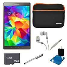 """buy Samsung Galaxy Tab S 8.4"""" Tablet Sm-T700Ntsaxar- (16Gb, Wifi, Titanium Bronze) 16Gb Bundle Includes 16Gb Microsd Memory Card, Sleeve For Tablets, Audio Earbuds, Stylus, And 3Pc. Cleaning Kit."""