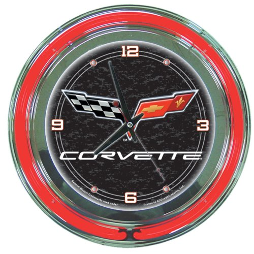 Trademark Corvette C6 14-Inch Diameter Neon Clock (Black)