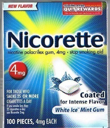 Nicorette OTC Stop Smoking Nicotine Gum, 4mg-White Ice Mint-100 ct.