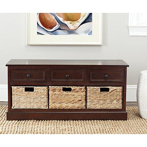 Safavieh American Home Collection Newburgh 3-Drawer Storage Unit, Dark Cherry (Storage Bench With Baskets compare prices)