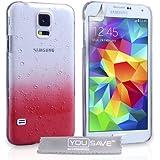 Yousave Accessories Samsung Galaxy S5 H�lle Rot / Klare Regentropfen Hart Schutzh�lle