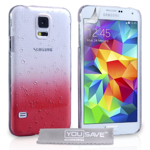 Yousave Accessories Samsung Galaxy S5 Case Red / Clear Raindrop Hard Cover front-64322