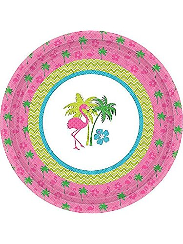 "Flamingo Fun 7"" Cake Plates (8 Pack) - 1"