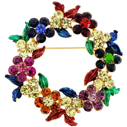Multicolor Christmas Wreath Pin Brooch