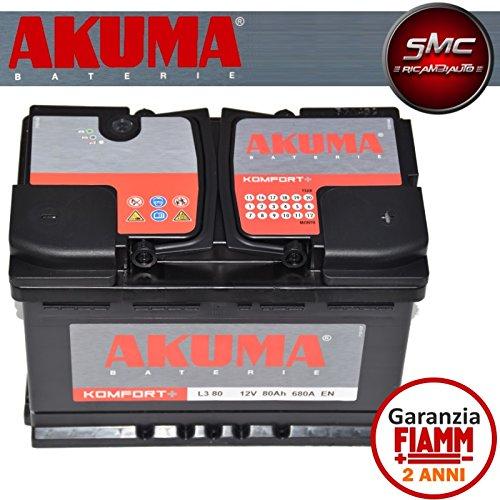 BATTERIA-AUTO-AKUMA-by-FIAMM-cod-L380-KOMFORT-PLUS-80Ah-680A-Polo-Positivo-a-Destra