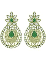 The Jewelbox Flower Filigree Antique Rhodium Pearl Green Earring For Women