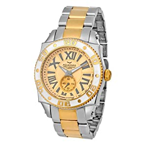 Aquaswiss Swiss Quartz 44 MM Watch Gold Dial Stainless Steel Gold Ion White Bezel 62G0082