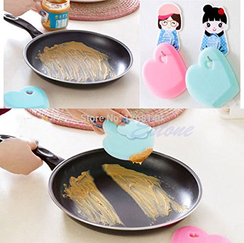 Free Shipping Heart Shape Silicone Fry Pan Bowl Scraper Spatula Baking Cooking Kitchen Tool