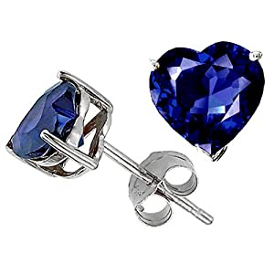 3.00 cttw 14K White Gold Plated 925 Sterling Silver Heart Created Sapphire Earring Studs - Gold Plated Silver