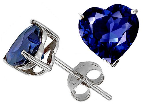 Original Star K(tm) 7mm Created Heart Sapphire Earring Studs LIFETIME WARRANTY
