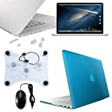 Skque Aqua Crystal Hard Clip-on Case + LCD Display Screen Protector Film + Clear Port Dust Plug Cover + USB Laptop Cooler Pad + USB 3-Button Optical Scroll Mouse w/blue,red LEDs for Apple MacBook Pro 13.3