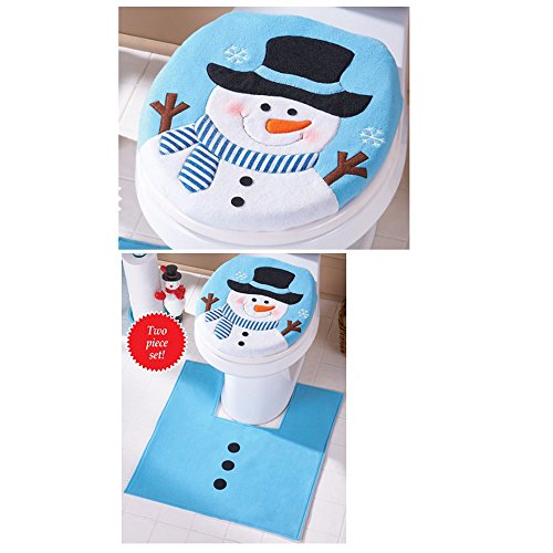 Christmas Decorations for Home Snowman Toilet Seat Cover and Rug Bathroom Set Christmas Gifts