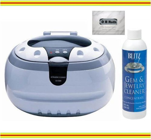 Sonic Wave Professional Ultrasonic Cleaner - Cleans Jewelry, Optics, Eyeglass, and Other Delicate Items + Blitz Jewelry & Gem Cleaner (Concentrate 8oz.) + Professional 100% Cotton Flannel All-in-one Jewelry Cleaning, Buffing and Tarnish Shielding Cloth