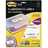 Post-it Removable Adhesive Classroom I.D. Labels 3900-SC (24 labels per package) Laser & Inkjet