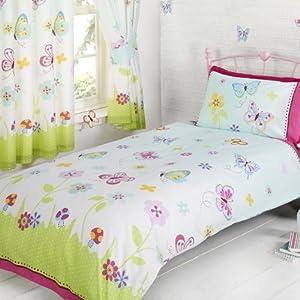 parue de lit 1 personne enfant jeune fille motif papillons. Black Bedroom Furniture Sets. Home Design Ideas