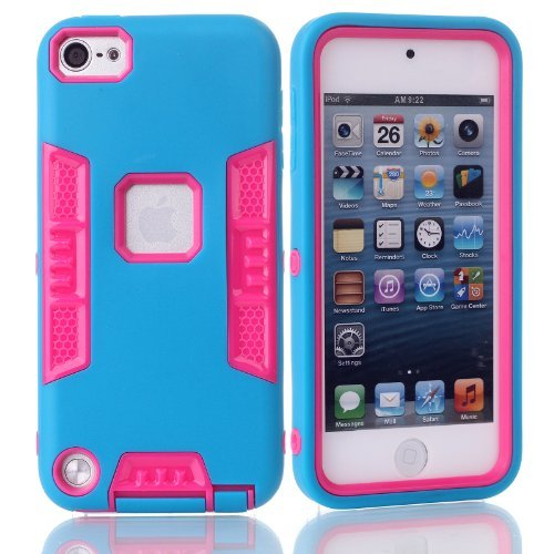 iTouch 5,Touch 6 Case,SAVYOU 3in1 Heavy Duty High Impact Armor Case Cover Protective Cover Case for Apple iPod touch 5 6th Generation (Blue Hot PINK) by SAVYOU (Ipod Cases 5 3in1 compare prices)