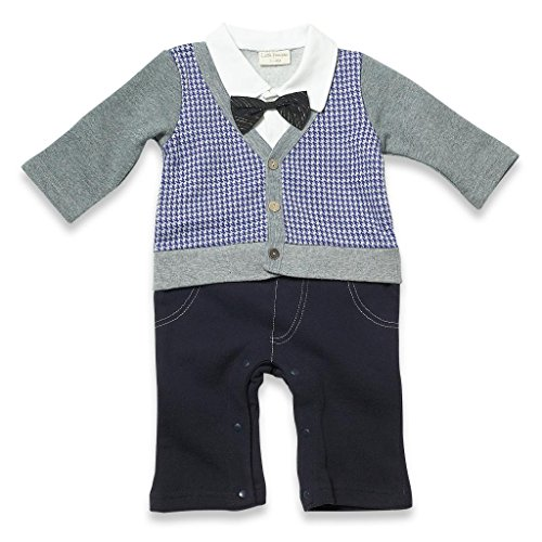 Little Youngster Baby Boys Infant Long Sleeve Polo Romper, Pattern Print Cardigan (3-6M) front-12747