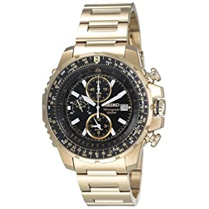 Click to buy Seiko Watches for Men: SNAD08 Flight Computer Gold-Tone Watch from Amazon!