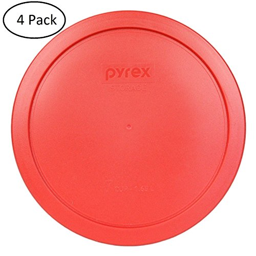 Pyrex 2 Cup Round Storage Cover #7200-pc for Glass Bowls (Pack of 4) - Red Color (Replacement Pyrex Lid 2 Cup compare prices)