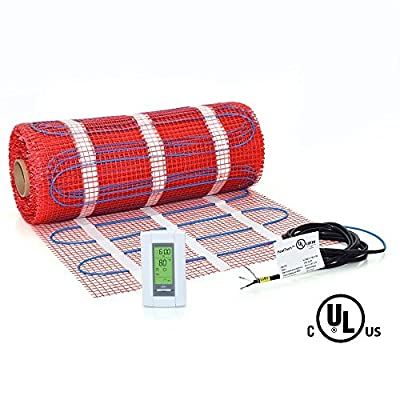 100 sqft, HeatTech 120V Electric Radiant Floor Heating Mat Kit for Tile Stone Floors with adhesive mesh + AUBE digital 7-day programmable floor sensing thermostat TH115-AF-GA with built-in 5mA GFCI and floor sensor for high-moisture areas, such as Bathroo