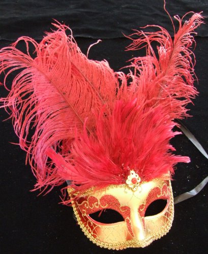 Showgirl Red & Gold Halloween Mardi Gras Costume Masquerade New Orleans Prom Party