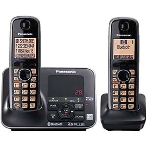 Panasonic KX-TG7622B DECT 6.0 Link-to-Cell via Bluetooth Cordless Phone, Black, 2 Handsets