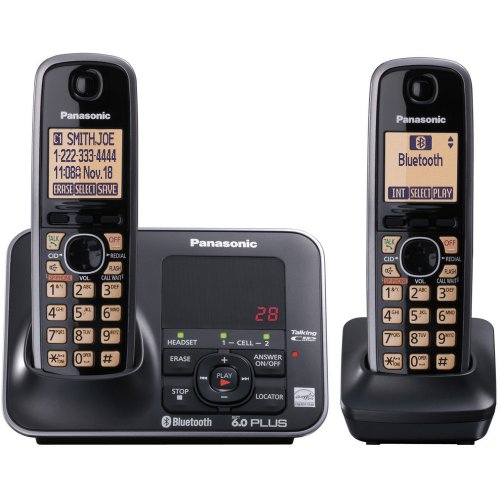 Panasonic KX-TG7622B DECT 6.0 PLUS Link-to-Cell Bluetooth Two Handset with Digital Answering System