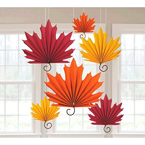 Amscan Colors of Fall Thanksgiving Party Autumn Leaves Hanging Fans Decoration (Pack of 6), Orange/Red, 18