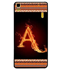 Fuson 2D Printed Alphabet A Designer back case cover for Lenovo A7000 - D4189