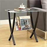 Monarch Specialties Bentwood Magazine Table with Tempered Glass, Cappuccino
