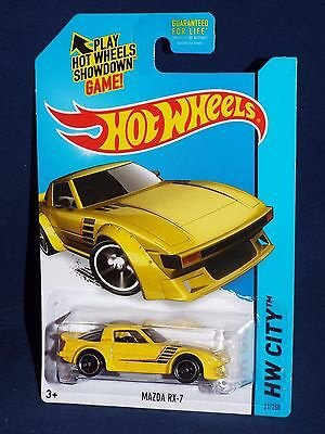 Hot Wheels 2014 Hw City Night Burnerz #21 Mazda Rx-7 Yellow - 1