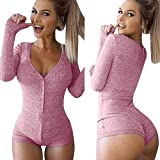 Moxeay® Sexy V-neck One Piece Bodysuit Long Sleeve Bodycon Rompers (Large, Pink)