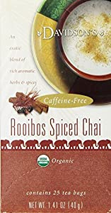 Davidson's Tea Rooibos Spiced Chai, 25-Count Tea Bags (Pack of 6)