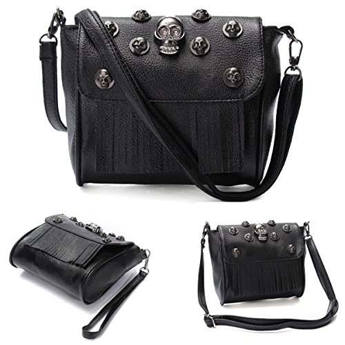Hot Women Skull PU Leather Tassels Handbag Shoulder Messenger Bag Satchel Tote, NK. (Kirby Vacuum Bag Clip compare prices)