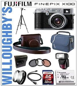 Fujifilm X100 w/ 23mm f/2 Fujinon Lens + Fuji Leather Camera Case + Fuji Lens Hood + Fuji Adapter Ring + Fuji Spare Battery + Fuji EF-42 Flash + 32GB