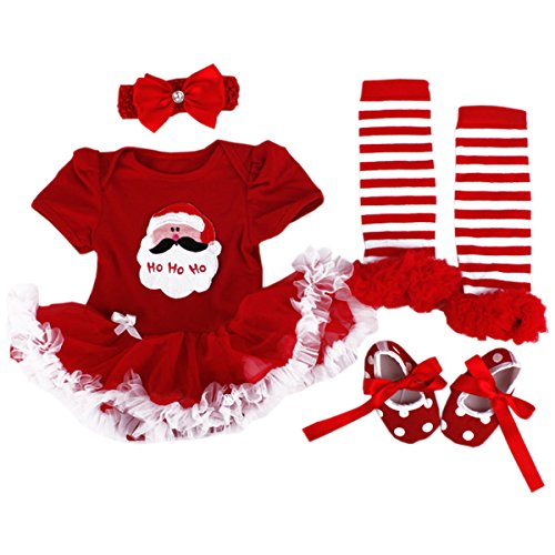 TANZKY® Baby Girls' Christmas Santa Costume Headband Legging Shoe 4PCS