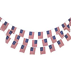 Magideal 10m American 30Pcs US Flag String Bunting Banner Garland Outdoor Decor