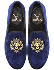 Bareskin Mens Handmade Navy Blue Color Velvet Slip-on With Lion King Embroidery/Hand Made Slipon And Loafer Shoes...