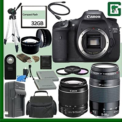 Canon EOS 7D Digital SLR Camera and Canon 18-55mm Lens and Canon 75-300mm III USM Lens + 32GB Green's Camera Package 1