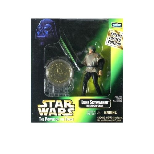 Star Wars: Power of the Force Millenium Coin Edition Luke Skywalker in Endor Gear Action Figure - 1