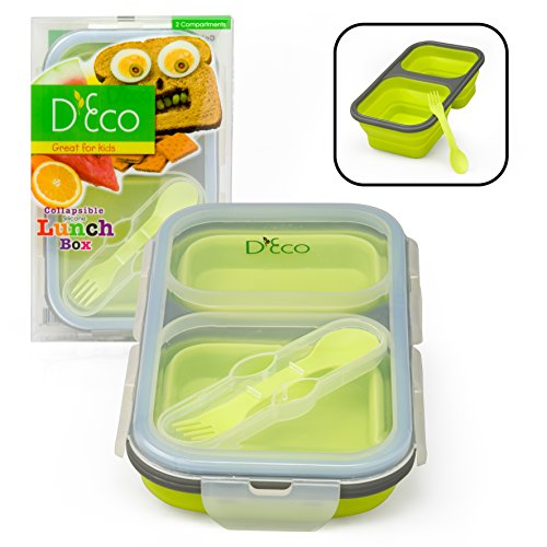 Collapsible Lunch Box Silicone Kids Food Storage with Two Compartments In Green By DEco