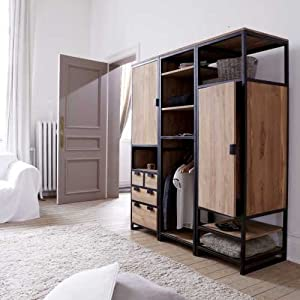 solid teak and metal wardrobe unit 3 shelf 1 cupboard. Black Bedroom Furniture Sets. Home Design Ideas